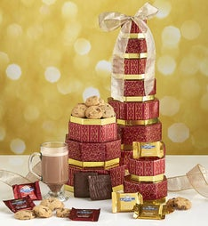Golden Elegance Gift Tower with Ghirardelli
