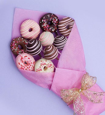 Sweet Chocolate Covered Donut  Cake Pop Bouquet