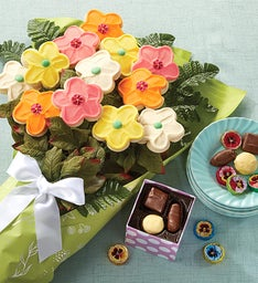 Buttercream Frosted Long Stemmed Cookie Flowers with Chocolates