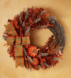 Preserved Harvest Plaid Wreath & Cornucopia