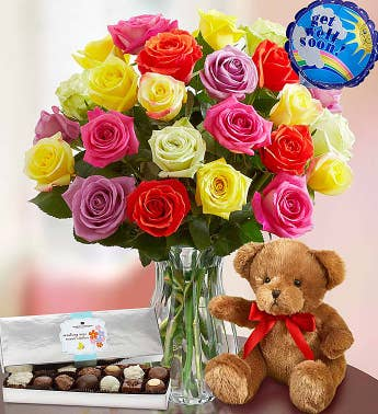 Get Well Soon Assorted Roses 12-24 Stems