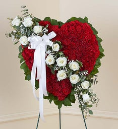 Red Solid Standing Heart with White Roses