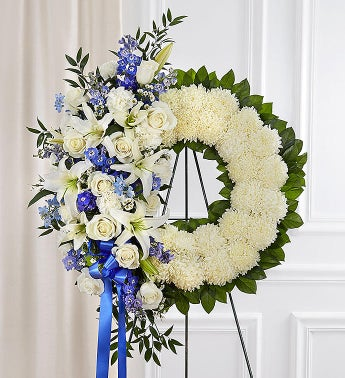Serene Blessings Standing Wreath- Blue  White