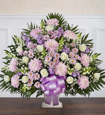 Heartfelt Tribute Lavender  White Floor Basket Arrangement