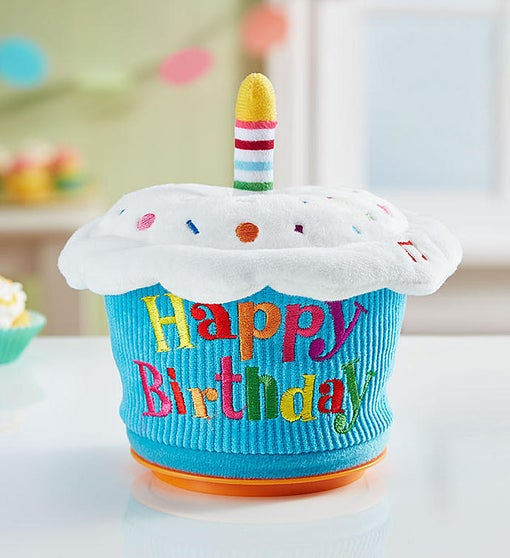Animated Birthday Cupcake With Candy and Balloon