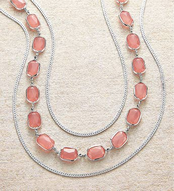 Silver Necklace With Peach Beads by Bayberry Road