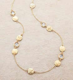 Gold Necklace With Crystals and Etched Discs by Bayberry Road