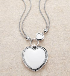 Silver Necklace With Moonstone Heart Medallion by Bayberry Road