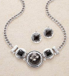 Silver & Smoke Crystal Necklace and Earring Set by Bayberry Road