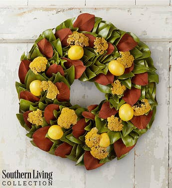 Southern Living™ Preserved Magnolia & Lemon Wreath