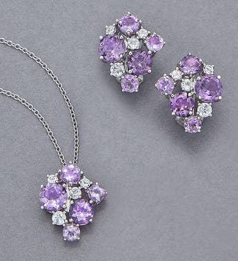 Amethyst  White Topaz Jewelry Set