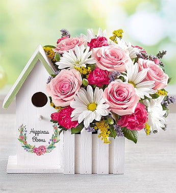 Happiness Blooms Birdhouse - Pink