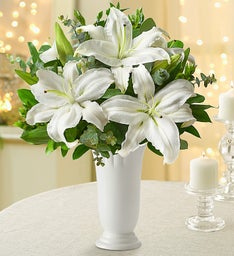 All White Lilies + Free Premium Vase