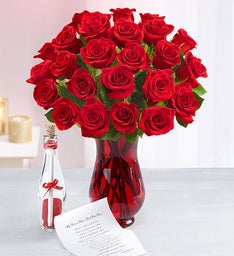 Message in a Bottle® with Red Roses