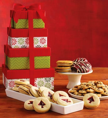 Tower of Holiday Cookies