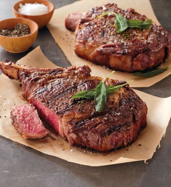 "Stock Yards® Rib Eye: ""Chicago Cut"" Bone-In Rib Chop – Four 16-18-Ounce USDA Prime"