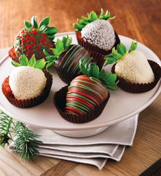 Holiday Chocolate-Covered Strawberries - Half Dozen