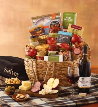 Gourmet Picnic Basket with Personalized Blanket with Wine