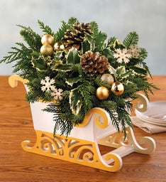 White Winter Sleigh Centerpiece