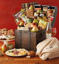 Vintage Gourmet Celebration Chest with Personalized Blanket with Wine