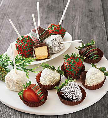 Holiday Chocolate-Covered Strawberries and Cheesecake Pops
