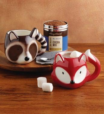 Fox and Raccoon Mug Set with Cocoa