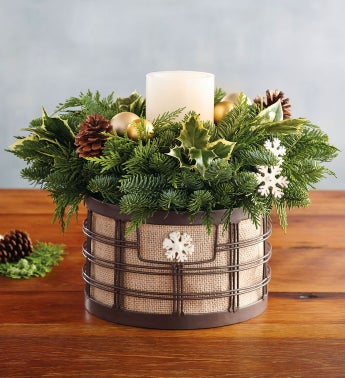 Evergreen and Burlap Centerpiece