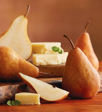 Bosc Pears and Barron County Co Havarti Cheese
