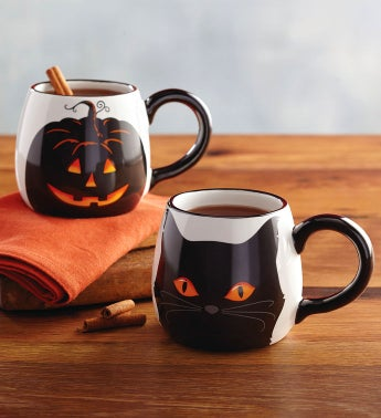 Jack-O-Lantern and Black Cat Mug Set