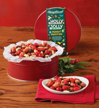 Holly Jolly Peanut Snack Tin