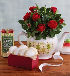 Rose Teapot with Cookies