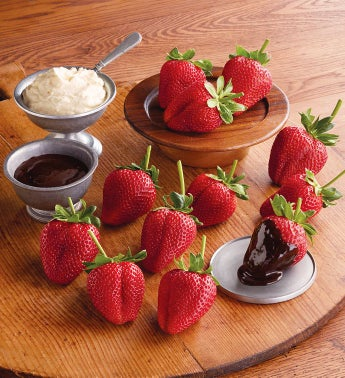 Strawberries, Devonshire Cream, and Chocolate Dipping Sauce Gift