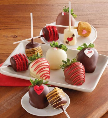 Valentine's Day Hand-Dipped Chocolate-Covered Strawberries and Cheesecake Pops - Half Dozen Each