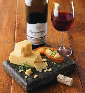 Grafton White Cheddar Cheese and Harry  David Cabernet Sauvignon