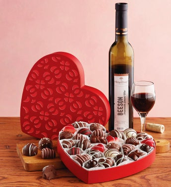 Valentine Heart Box with Wine