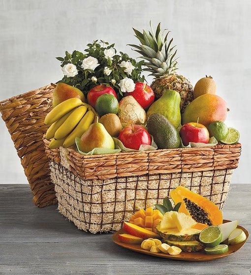 Flowers and Fruit Gift Basket