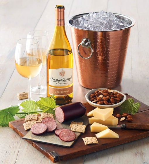 Copper Wine Chiller with Meat and Cheese