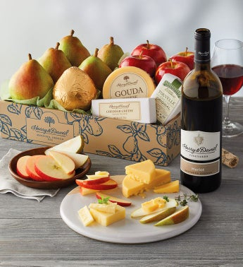 Deluxe Pears Apples and Cheese Gift with Wine snipeImage