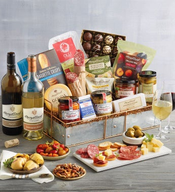 Gourmet Serving Tray Gift with Wine