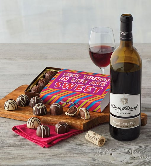 """Best Things in Life are Sweet"" Chocolate Box with Wine"