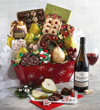 Deluxe Christmas Gift Basket with Wine