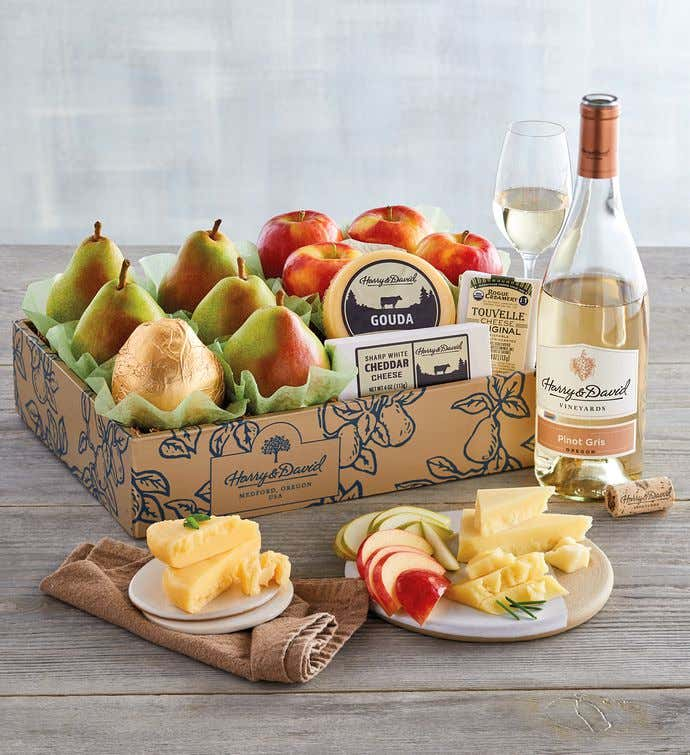 Deluxe Pears, Apples, and Cheese Gift with Wine