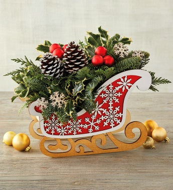 Red Sleigh Centerpiece