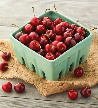 Plump-Sweet Cherries in Ceramic Basket