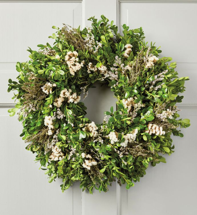 Boxwood and Statice Wreath