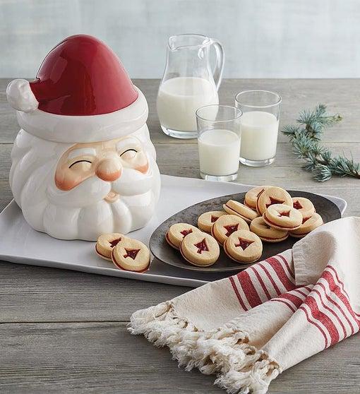 Santa Cookie Jar with Cookies