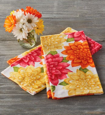 Spring Zinnia Kitchen Towel