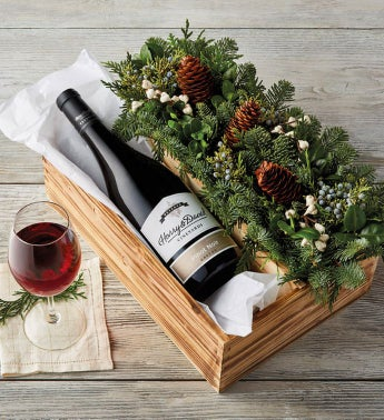 Evergreen Centerpiece and Wine