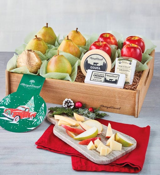 Deluxe Holiday Pears, Apples, and Cheese Tray