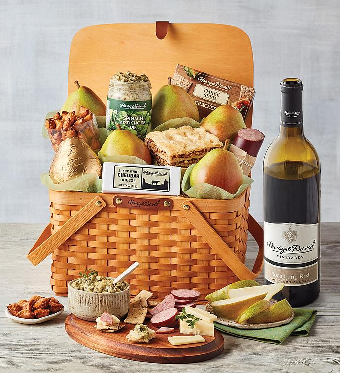 Picnic Basket Gift with Wine